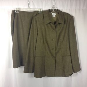 LOFT Olive Green Skirt Suit